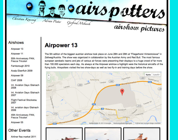 Screenshot der Website www.airspotters.at
