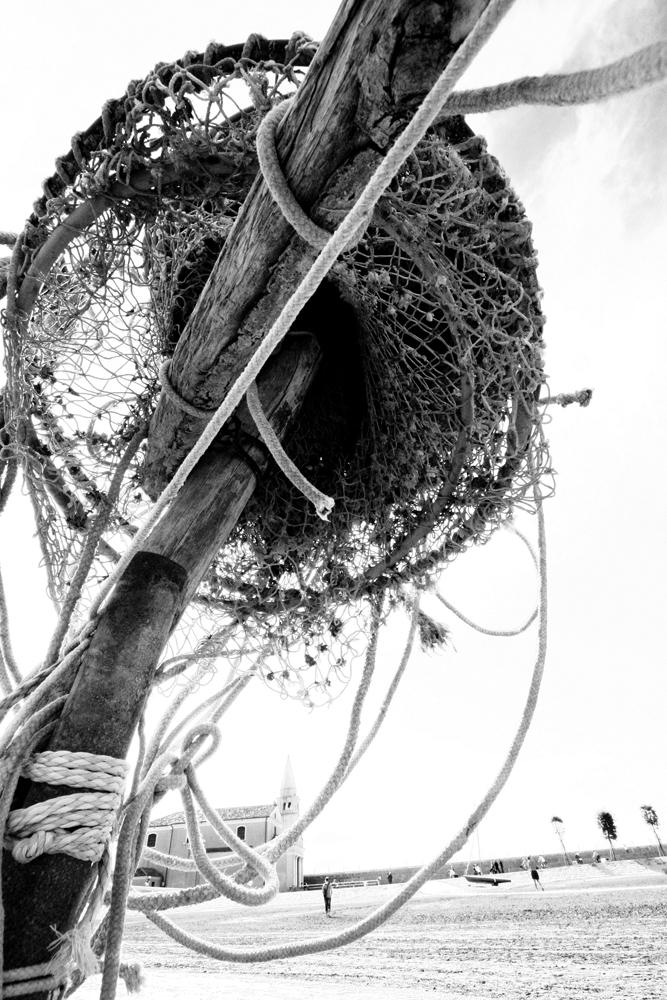 Hängendes Fischernetz