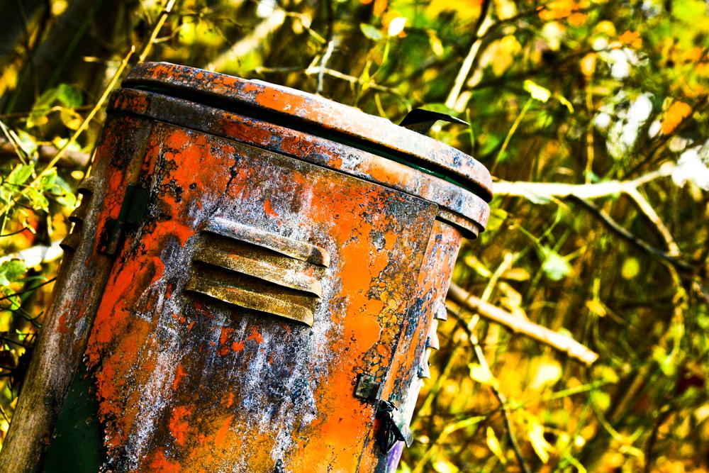Rostiger Mülleimer im herbstlichen Wald