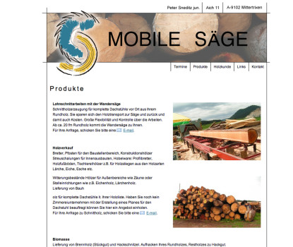 Screenshot der Website www.mobilsaege.at