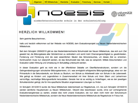 Screenshot der website www.noesis-projekt.at