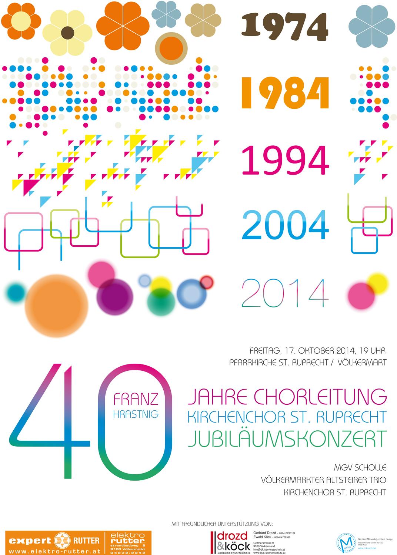 Plakat zum 40 Jahr-Jubiläum der Chorleitung.
