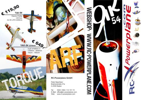 Werbeflyer der Modellbaufirma RC-Powerplane