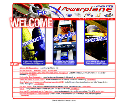 Screenshot der website www.rc-powerplane.com